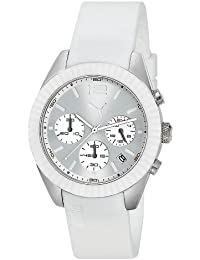 Puma Motorsport Grip Chrono Unisex Quartz Watch with Silver Dial Chronograph Display and White Plastic or PU Strap PU102812001