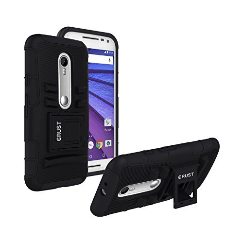 Moto G3 Cover, Moto G Turbo Cover CRUST™ Armor Case For Motorola Moto G (3rd Generation), Moto G Turbo Edition, Moto G3, Moto G (3rd Gen) Shock Proof High Impact Kick Stand Dual Layer Hard/Soft Back Cover - Retail Packaging