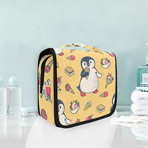 Kulturbeutel Make-Up Kosmetiktasche Hängen Niedlichen Pinguine Dessert Kuchen Eis Reise Aufbewahrungstasche Tasche für Frauen Mädchen