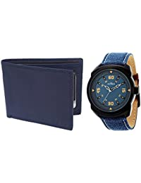 XPRA Analog Watch & Blue Leather Wallet For Men/Boys Combo (Pack of 2) - (WCH-WL-8)