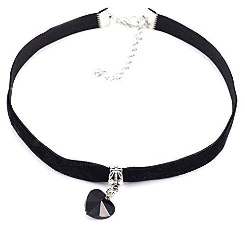 Collana girocollo in velluto nero con ciondolo a forma di cuore smaltato, di colore nero, in confezione regalo