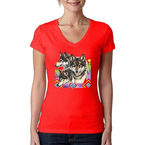 Fun Girlie V-Neck Shirt - 3 Wölfe by Im-Shirt Rot