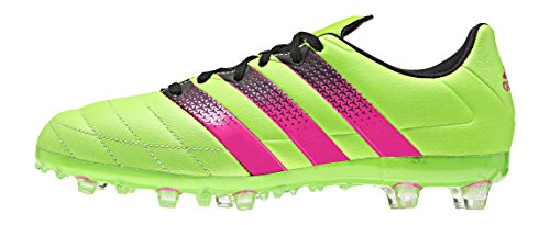 adidas Ace 16.1 Fg/Ag J Leather, Chaussures de Football Mixte Bébé Vert / Rose / Noir (Versol / Rosimp / Negbas)