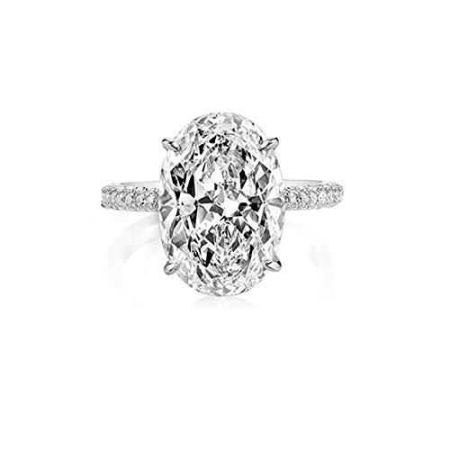ANAZOZ Ring Damen 925 Sterling Silber 5Ct Bandring 14Mm Breit Echt Silber Verlobungsring Ehering Ring Trauring Hochzeitsring Größe 54.5(17.4)