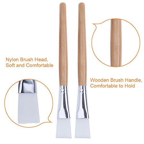 Lictin 2pcs Facial Mask Brushes with 1pcs Super Cute Hair Band Professional Quality for Applying Facial Mask, Eye Mask or DIY Needs(Light Brown)