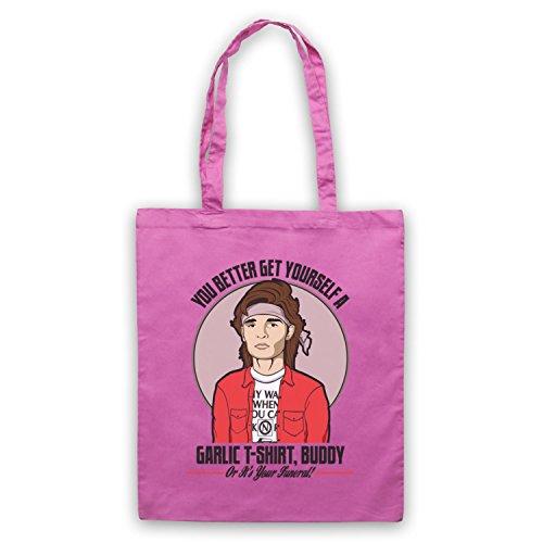 Inspiriert durch Lost Boys Edgar Frog Get Yourself A Garlic T-Shirt Buddy Inoffiziell Umhangetaschen Rosa