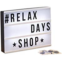 Relaxdays–Light Box, bombilla Caja con caracteres, 85, letras, números, LED Cartel HBT: 22x 30x 4,5cm), color blanco/negro