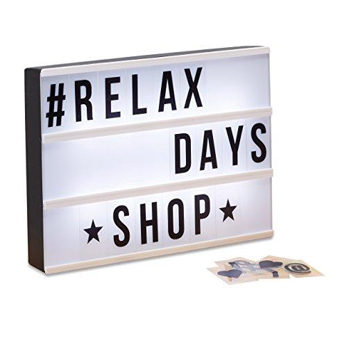 Relaxdays Light Box, Leuchtbox Set mit 85 Zeichen, Buchstaben, LED Leuchtschild, HxBxT: 22 x 30 x 4,3 cm, weiß/schwarz