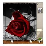 Daesar Vintage Duschvorhang aus Polyester-Stoff Rot Rose Blume Antischimmel 3D Duschvorhang 150X200CM