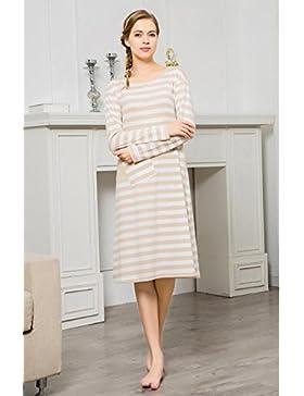 Manica lunga cotone camicia da notte vestaglia autunno nightwear Ultima donna , linen , l (160/84a)