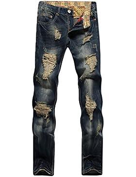 Lumeidon Uomo Moda Personalità Jeans Strappati Tempo Libero Tipo Diretto Sottile Jeans