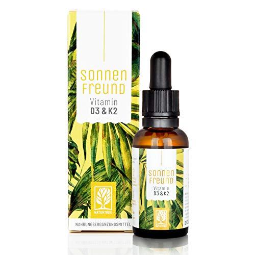 NATURTREU® Vitamin D3 K2 Tropfen hochdosiert - 30 ml in MCT Öl vegan laborgeprüft und hergestellt in Deutschland hohe Bioverfügbarkeit ohne Zusätze Sonnenfreund