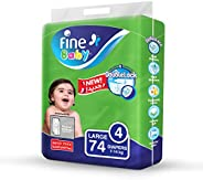 Fine Baby Diapers, DoubleLock Technology , Size 4, Large 7 - 14kg , Mega Pack. 74 diaper count