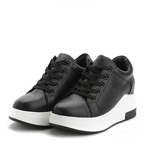 L@YC Frauen flache Schuhe im Fr¨¹hjahr Erh?hte Freizeit Sport Schuh Schn¨¹rung Student Flat In Little White Schuhe Schwarz Wei? Black
