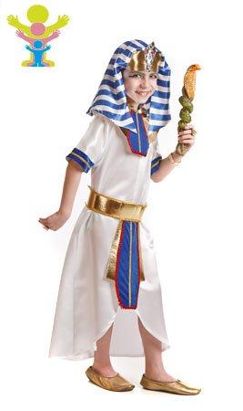 Disfraz en varias tallas para niños de Faraón Egipcio. Incluye túnica, tocado y cinturón. Bastón Cobra NO incluido, lo podrás encontrar en nuestra sección de Accesorios.
