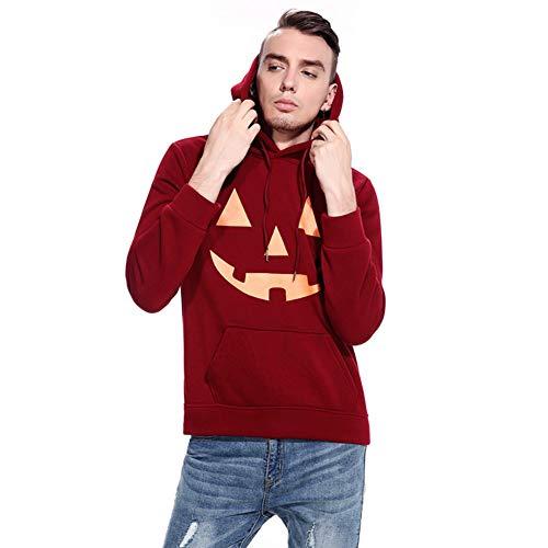 Showu Herren Kapuzenpullover Hoodie Pullover mit Kapuze Halloween Teufel Kürbis Gesicht Drucken (Kürbis Wein, S)