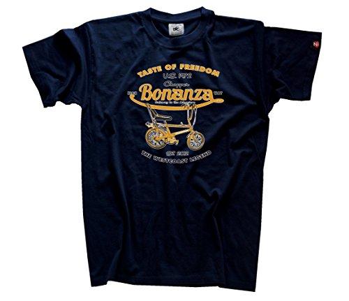 shirtzshop-taste-of-freedom-bonanza-bicicleta-chopper-camiseta-azul-azul-marino-tallaxxxl