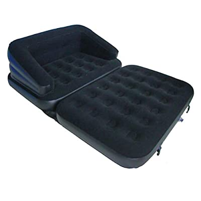 Latex 5-in-1 Inflatable Flocked Sofa, 200 x 137 x 53 cm, Black produced by Benross Group - quick delivery from UK.