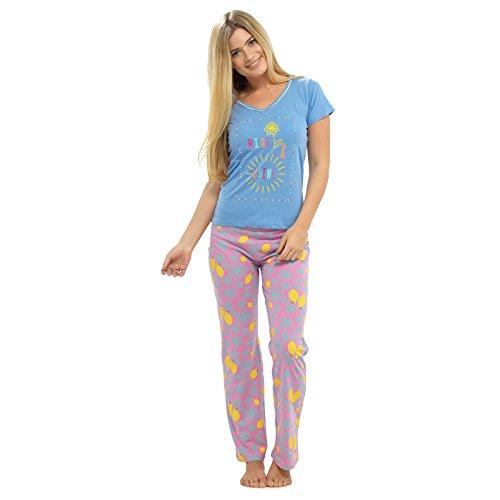 TOM Franks Damen Baumwolle Sommer Schlafanzug Print Oberteil T-Shirt und lange Hose Pyjama Nachtwäsche Set (Baumwolle Pj Damen Pyjama)