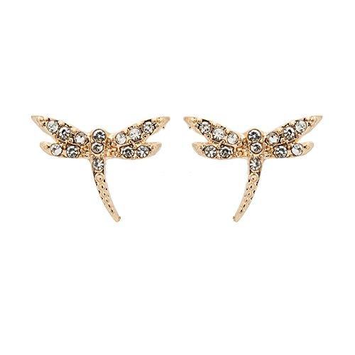 """rimchen Ohrstecker Modeschmuck """"Kleine Libelle"""" mit klaren Strasssteinen Farbe: Gold"""