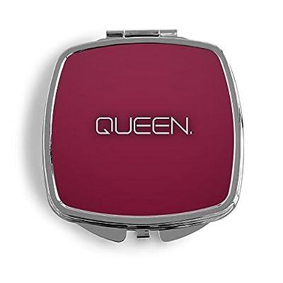 Queen. Metall Taschenspiegel Kosmetik Beauty Spiegel Klappbar Bedruckt Design Vintage Spruch Zitat Quote