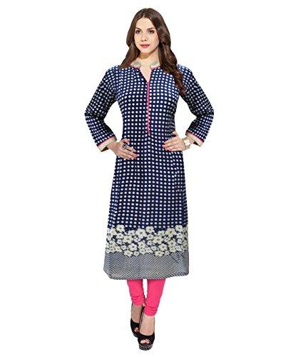 1-Stop-Fashion-Blue-Color-Stitched-Cotton-KurtiOnly-Medium-Size
