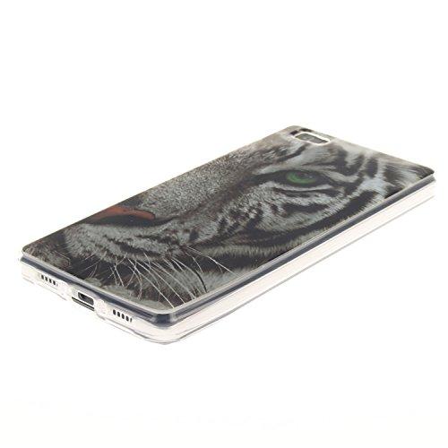 iPhone 5C Hülle, iPhone 5C Case [Scratch-Resistant], ISAKEN iPhone 5C Ultra Slim Perfect Fit Designed Muster Malerei TPU Transparent Protective back Hülle Hüllen Beschützer Haut Case Tasche Schutz Etu Tiger
