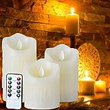 Liqoo 3 × Candele a LED da Cera Con Telecomando Decorazioni Perfette  Può funzionare come luce notturna anche come decorazioni per camera da letto, salotto, sala da pranzo, ristorante, hotel, chiesa, feste, matrim...
