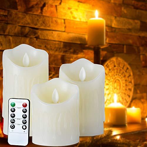 LED-Kerzen, Liqoo 3 er set Flammenlose Kerzen aus Echtwachs in Elfenbeinfarbe, Realistisch flackernde LED-Flammen mit 10 Tasten Timer Timerfunktion Fernbedienung, Dekorations-Kerzen-Säulen im 3er Set für Zuhause Weihnachtsschmuck Hochzeit Tisch Geschenk im Freien