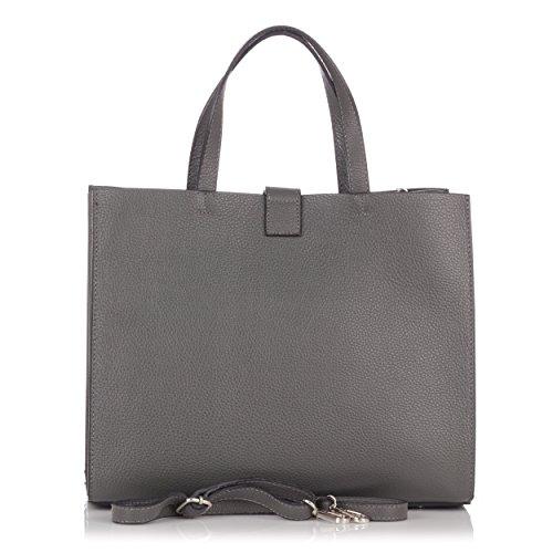 Laura Moretti - Borsa in vera pelle e nappa con borchie e chiusura a cintura (piccole dimensioni) Grigio
