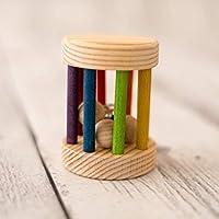 Rodari de madera mini 7 x 9 cm, color arco iris, complemento del Cesto de los Tesoros, Juguete para bebé, Sonajero