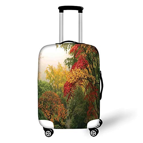 Travel Luggage Cover Suitcase Protector,Country Home Decor,Maple Trees in The Fall at Portland Japanese Garden One Foggy Morning Scenery,Red Yellow Green,for Travel,M - Portland Japanese Garden