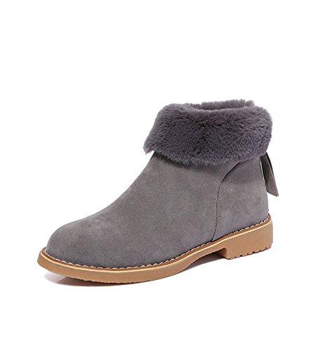 Minetom Damen Winter Warm Halten Plüsch Stiefel Mode Runder Kopf Ankle Boots Kurzstiefel Klassisch Flache Ferse Schneestiefel Grau EU 38 (Veloursleder-wedge-stiefel)