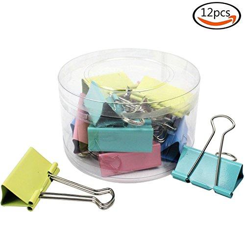 Whonline 12pcs anchura de los 5cm clips de carpeta grande del color binder clips de metal de papel clips de carpeta width=