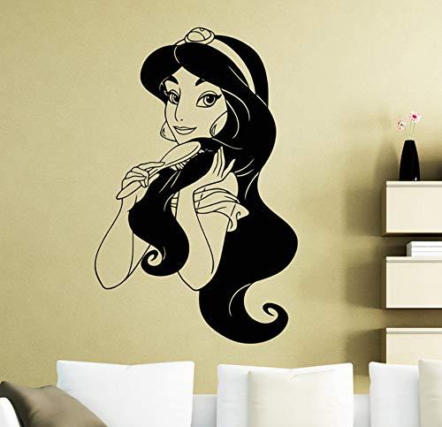 Knncch Prinzessin Jasmin Vinyl Wandaufkleber Kinderzimmer Cartoon Hero Abnehmbare Aufkleber Wohnzimmer Schlafzimmer Decoration57X88Cm