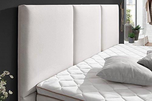 AHC – Atlantic Home Collection Boxspringbett 180×200 160×200 140×200 Beige Creme Altweiß Stoff Maya Hotelbett Doppelbett Matratze Topper Modern Luxusbett