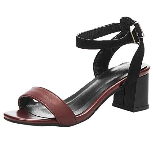 Oasap Women's Open Toe Ankle Strap Slingback Block Heels Sandals Brown