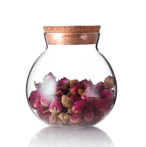 Topwel Glasbehälter mit Korkverschluss, Aufbewahrungsglas, rund, transparent, 500ml