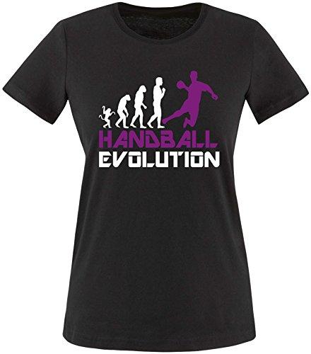 EZYshirt® Handball Evolution Damen Rundhals T-Shirt Schwarz/Weiss/Violett
