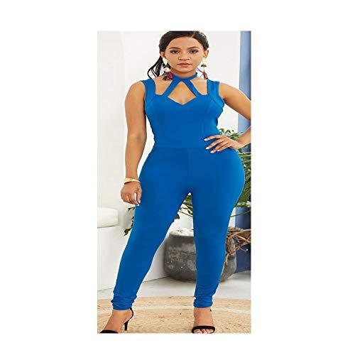 QIANZHIHED Kleid Frauen Hohlen Frauen Einfarbig Low-Cut Hängenden Hals Lässig Overall Rückenfreie Schlanke Hose, XL -