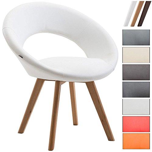 Clp sedia visitatore beck con schienale - sedia pranzo in similpelle i poltroncina imbottita con telaio in legno i sedia design moderno bianco colore base: natura