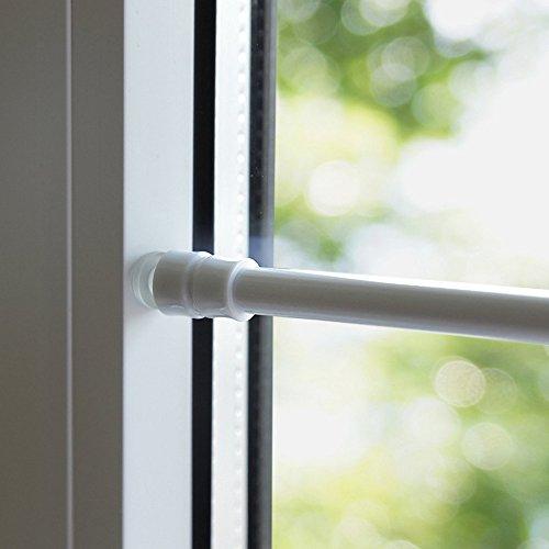 Tür- Fenster- Klemmstange Gardinenstange ohne Bohren für Scheibengardinen oder Türvorhänge #1166 (weiß, 80 bis 120 cm)