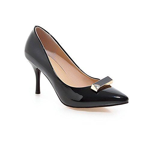 VogueZone009 Femme Tire Fermeture D'Orteil Pointu Stylet Verni Couleur Unie Chaussures Légeres Noir