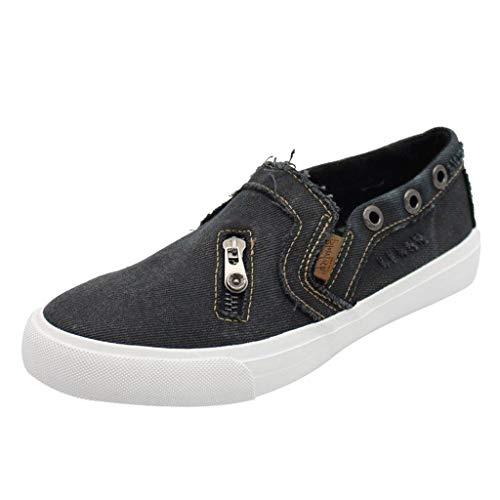 EUCoo Frauen Segeltuchschuhe MüßIggäNger Schuhe Cowboy-ReißVerschlussflache Unterseite Faul Schuhe Freizeitschuhe(Schwarz, 37)