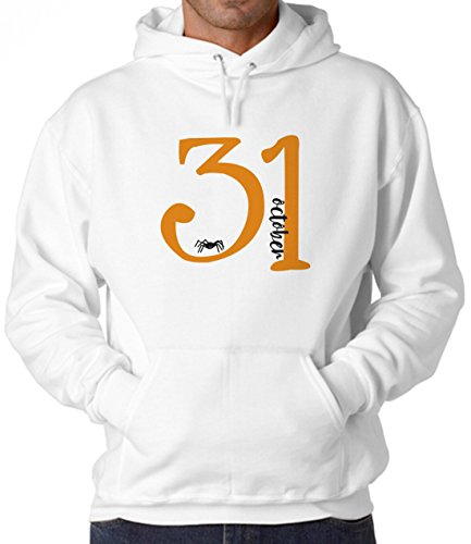 October 31-Halloween Little Spider White Unisex Hoodie - Large (Spider Hoodie Kids)