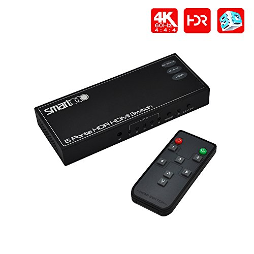 SMARTOOO 23051 5 Port HDMI Switch 4k 60hz HDR HDCP 2.2 with remote control auto switch compatible with PS 4 PRO, XBOX ONE S, etc. -