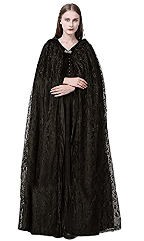 SK Studio Black Velvet Stylish Winter Long Cloak for Women