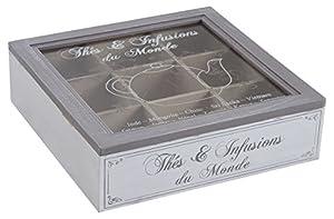 Français style vintage thé en bois Porte-sac Boîte de rangement Chest 9 Compartiment Caddy