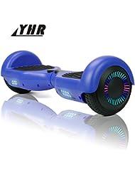 YHR 6,5-Zoll-Hoverboards für Kinder und Erwachsene mit Bluetooth, Smart Elektroroller mit 2 Rädern und bunten LEDs, selbstausgleichendem Overboard mit Tragetasche und europäischem Ladegerät