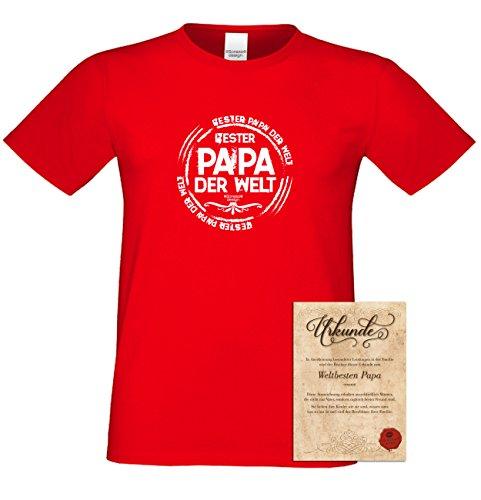 Geschenk-Set :: Bester Papa der Welt Herren T-Shirt inkl. Urkunde : Geschenkidee als Geburtstagsgeschenk Weihnachtsgeschenk Vatertagsgeschenk Farbe: rot Rot